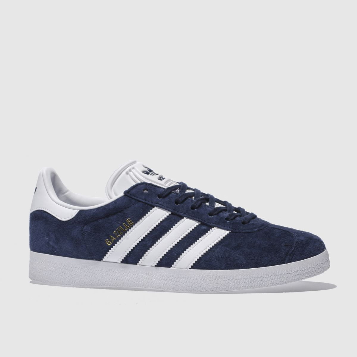Adidas Gazelle Mens Navy Blue And White Trainers, Size: 10